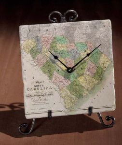 Antique Map of South Carolina Clock